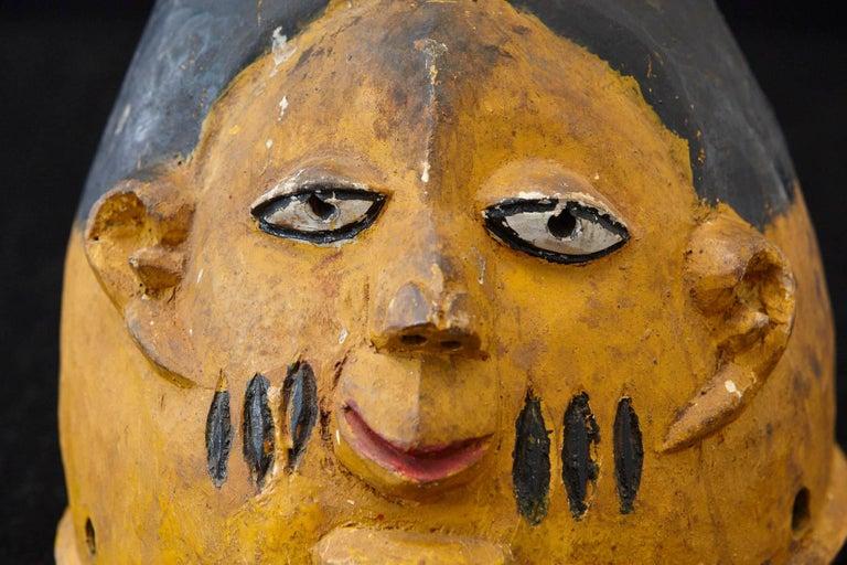 Tribal Polychrome Wood Gelede Headdress, Yoruba People, Nigeria, circa 1940s For Sale