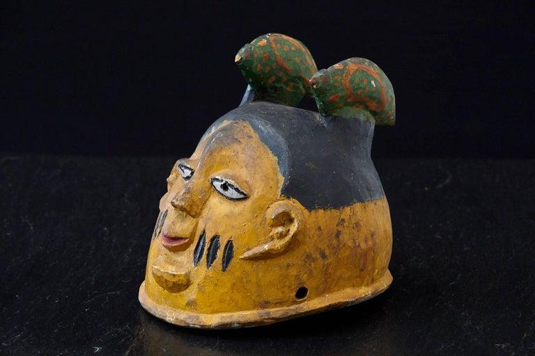 Nigerian Polychrome Wood Gelede Headdress, Yoruba People, Nigeria, circa 1940s For Sale