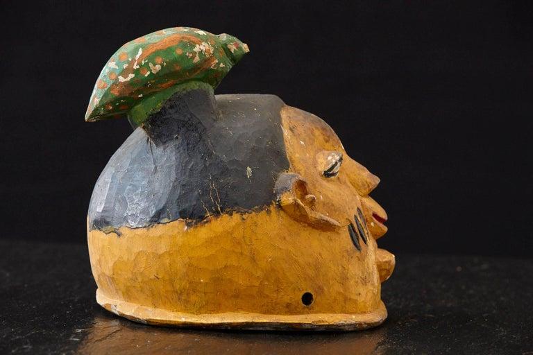 Polychrome Wood Gelede Headdress, Yoruba People, Nigeria, circa 1940s For Sale 1