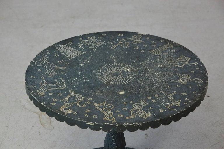 American Rare Molla Dark Green Cast Aluminium Zodiac Garden Side Table For Sale