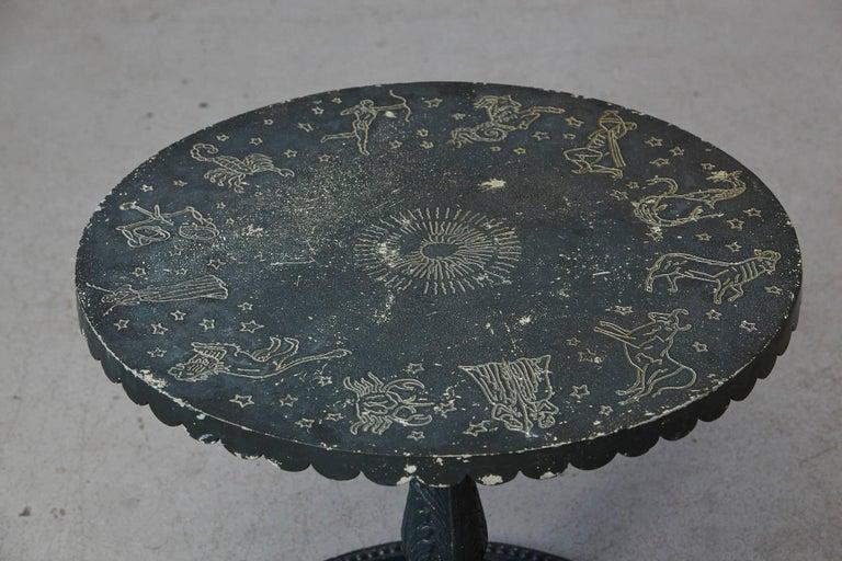 Mid-20th Century Rare Molla Dark Green Cast Aluminium Zodiac Garden Side Table For Sale