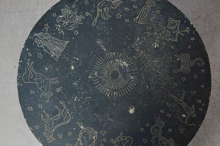 Rare Molla Dark Green Cast Aluminium Zodiac Garden Side Table For Sale 6