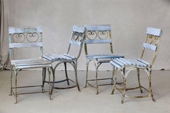 Set of Four French Wrought Iron Garden Chairs with Blue Wooden Slats circa 1920s