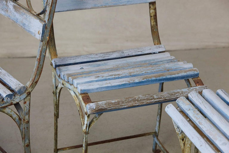 Set of Four French Wrought Iron Garden Chairs with Blue Wooden Slats For Sale 7