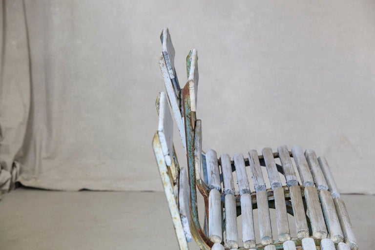 20th Century Set of Four French Wrought Iron Garden Chairs with Blue Wooden Slats For Sale