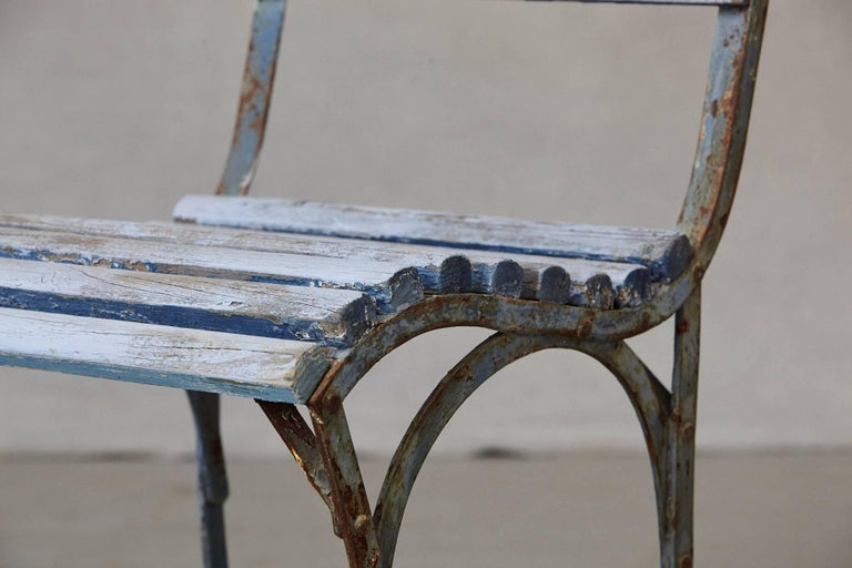 Set of Four French Wrought Iron Garden Chairs with Blue Wooden Slats For Sale 10