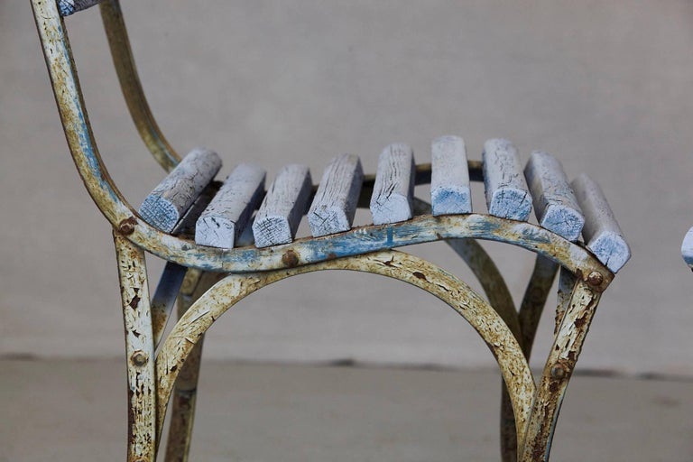 Set of Four French Wrought Iron Garden Chairs with Blue Wooden Slats For Sale 11