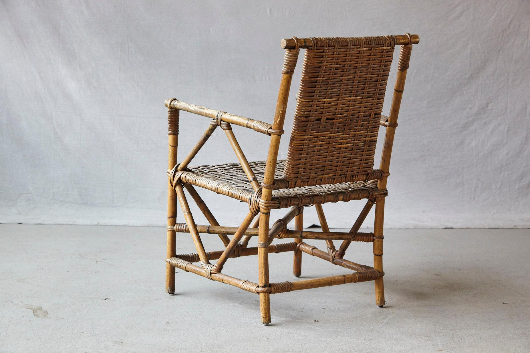 Early 20th Century English Antique Bamboo Armchair With Double Sided  Flat Woven Rattan Seats For