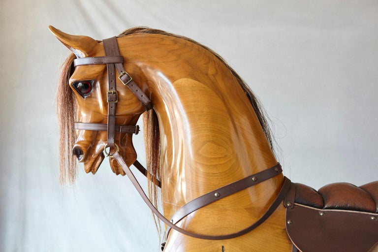 Contemporary Extra Large Custom Made Oak Rocking Horse by Stevenson Brothers, England For Sale