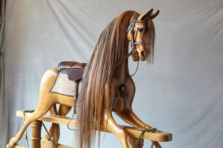 Extra Large Custom Made Oak Rocking Horse by Stevenson Brothers, England For Sale 5