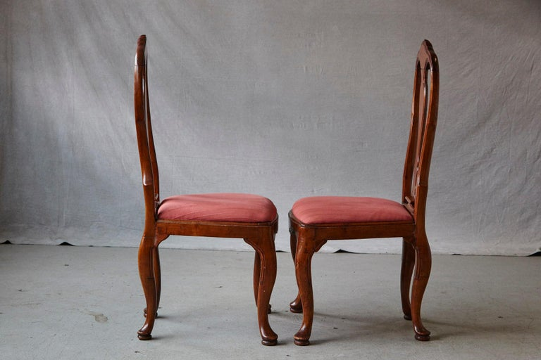 19th Century Set of Six Louis XIV French Country Style Carved Walnut Chairs For Sale 3