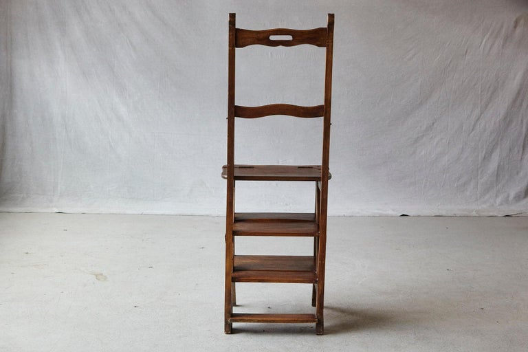19th Century French Metamorphic Library Chair, circa 1840 In Good Condition For Sale In Westport, CT
