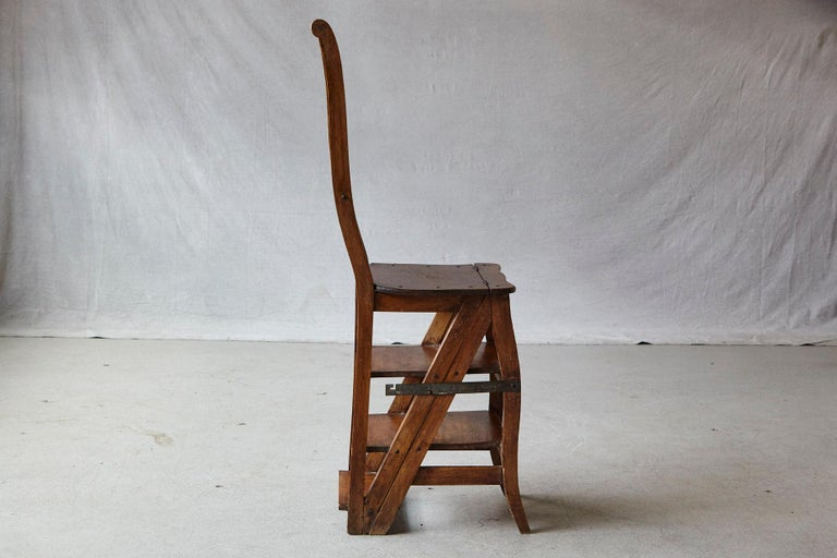 Fruitwood 19th Century French Metamorphic Library Chair, circa 1840 For Sale