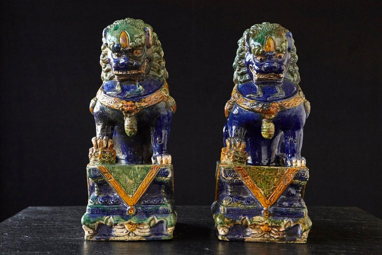 Glazed Late 19th Century Set of Two Large Chinese Sancai Glaze Foo Dogs For Sale