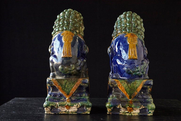Earthenware Late 19th Century Set of Two Large Chinese Sancai Glaze Foo Dogs For Sale