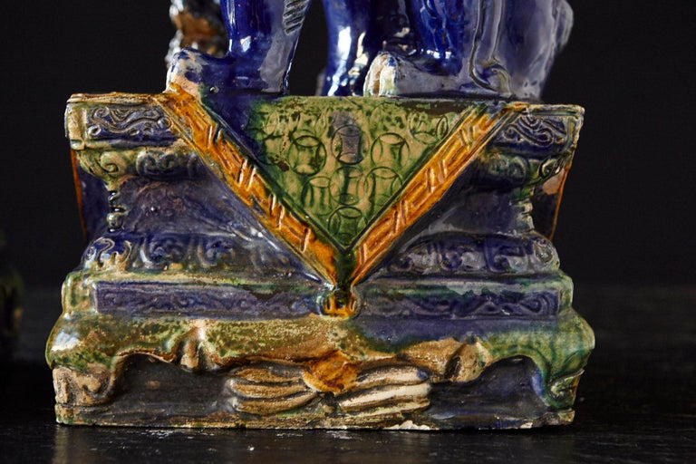 Late 19th Century Set of Two Large Chinese Sancai Glaze Foo Dogs For Sale 6