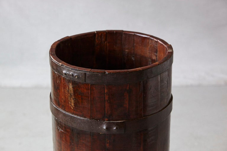 Late 19th Century Tall Chinese Fir Barrel from Zhejiang, circa 1870s For Sale 3