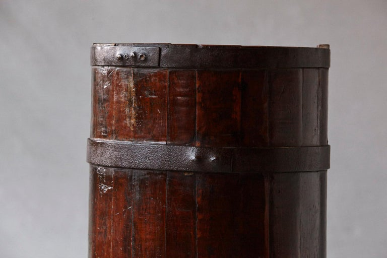 Late 19th Century Tall Chinese Fir Barrel from Zhejiang, circa 1870s For Sale 6