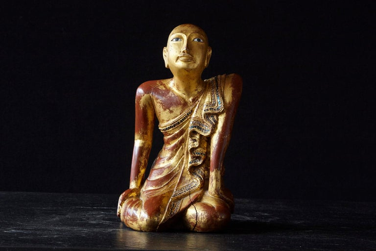 Hand-Carved 19th Century Burmese Kneeling Buddhist Monk Gilded Wood Temple Figure For Sale