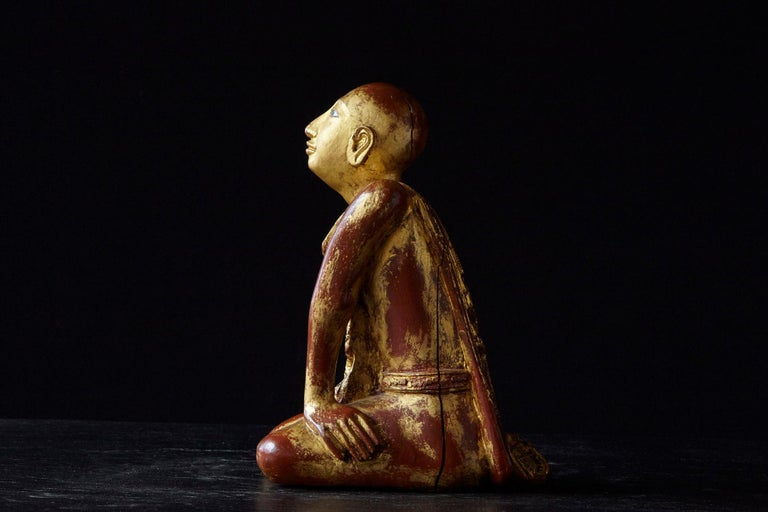 Glass 19th Century Burmese Kneeling Buddhist Monk Gilded Wood Temple Figure For Sale