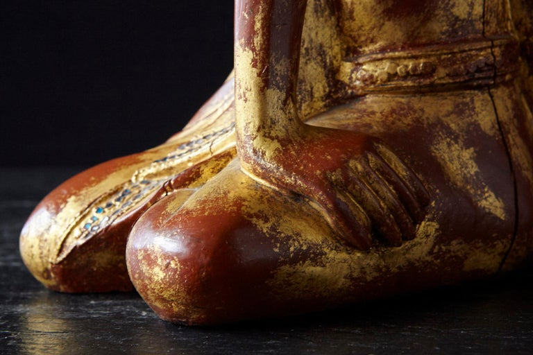 19th Century Burmese Kneeling Buddhist Monk Gilded Wood Temple Figure For Sale 7