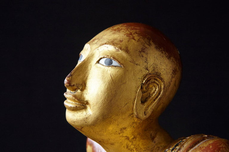 19th Century Burmese Kneeling Buddhist Monk Gilded Wood Temple Figure For Sale 12