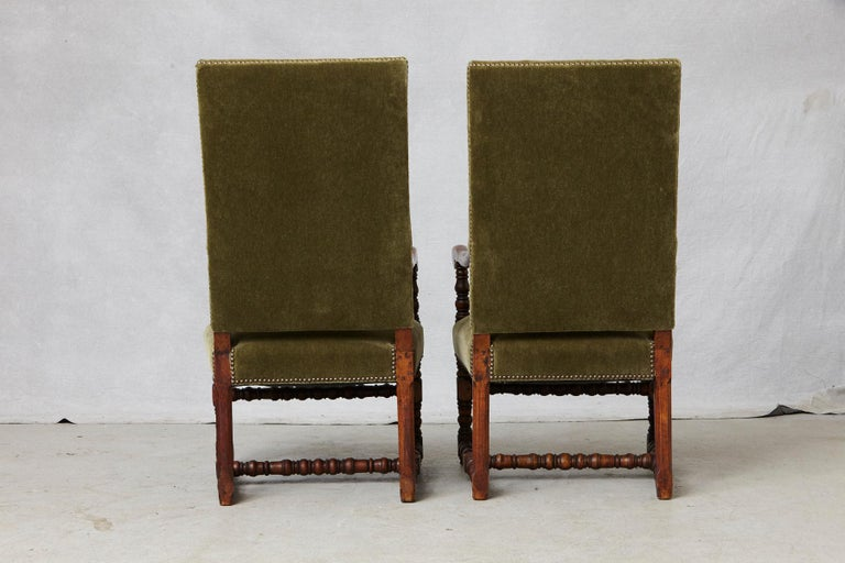 Brass Pair of French Louis XIII Style Walnut Fauteuils / Throne Chairs in Green Mohair For Sale
