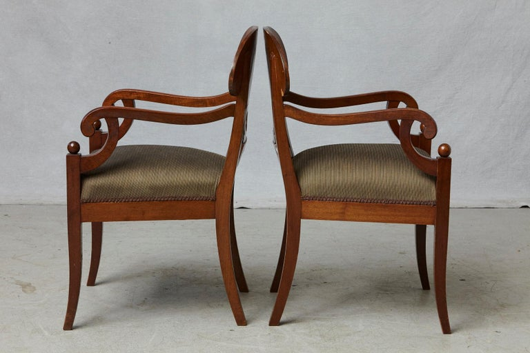 Late 19th Century Pair of Swedish Biedermeier Birch Wood Armchairs In Good Condition For Sale In Westport, CT
