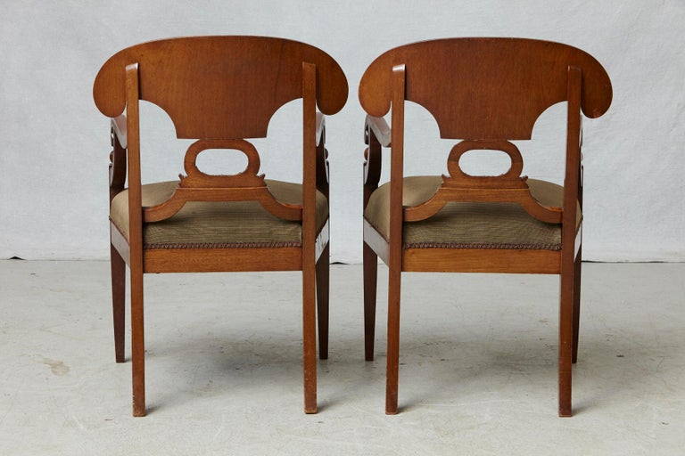 Late 19th Century Pair of Swedish Biedermeier Birch Wood Armchairs For Sale 1