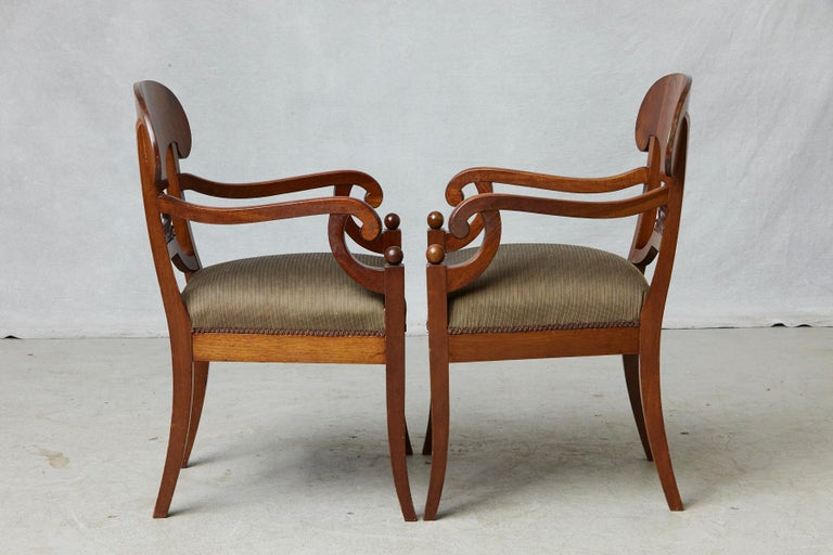 Late 19th Century Pair of Swedish Biedermeier Birch Wood Armchairs For Sale 2