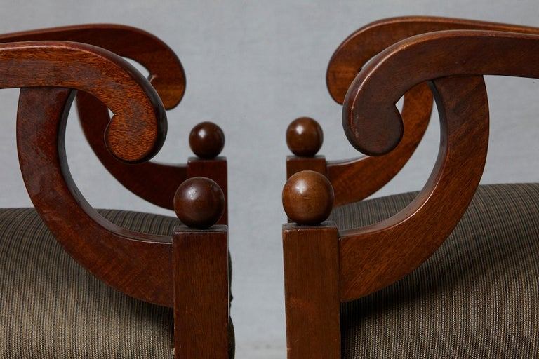 Late 19th Century Pair of Swedish Biedermeier Birch Wood Armchairs For Sale 3