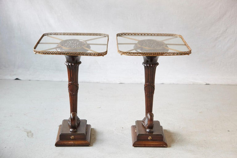 Pair of English Carved Cornucopia Glass Top Side Tables with Brass Galleries In Good Condition For Sale In Westport, CT