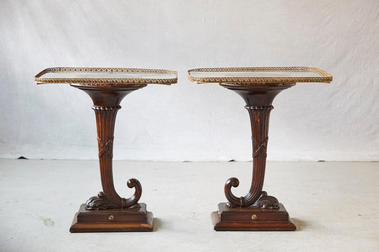 Neoclassical Pair of English Carved Cornucopia Glass Top Side Tables with Brass Galleries For Sale