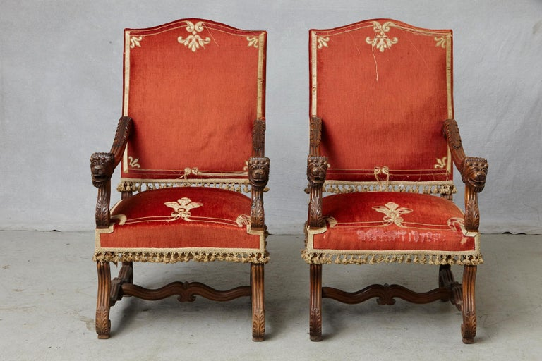 European Pair of French Louis XIII Os De Mouton Throne Armchairs with  For Sale