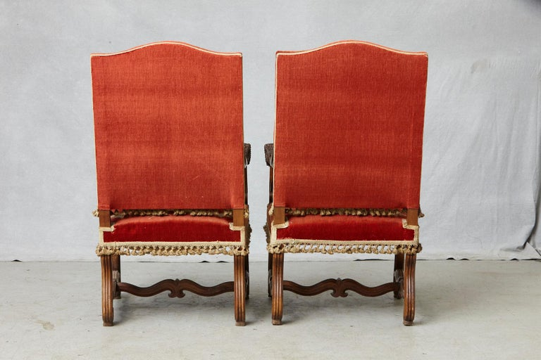 Walnut Pair of French Louis XIII Os De Mouton Throne Armchairs with  For Sale