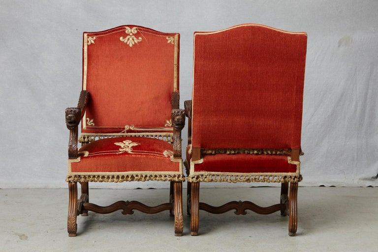 Pair of French Louis XIII Os De Mouton Throne Armchairs with  For Sale 1