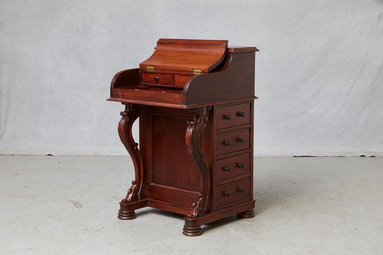 Victorian 20th Century Walnut Piano Top Davenport Desk For Sale