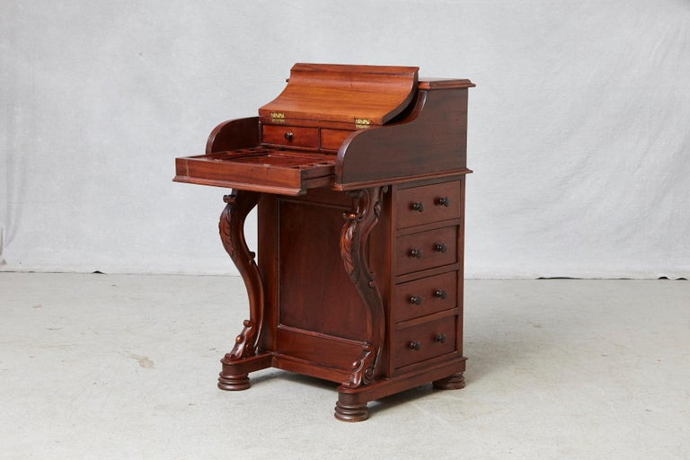 English 20th Century Walnut Piano Top Davenport Desk For Sale