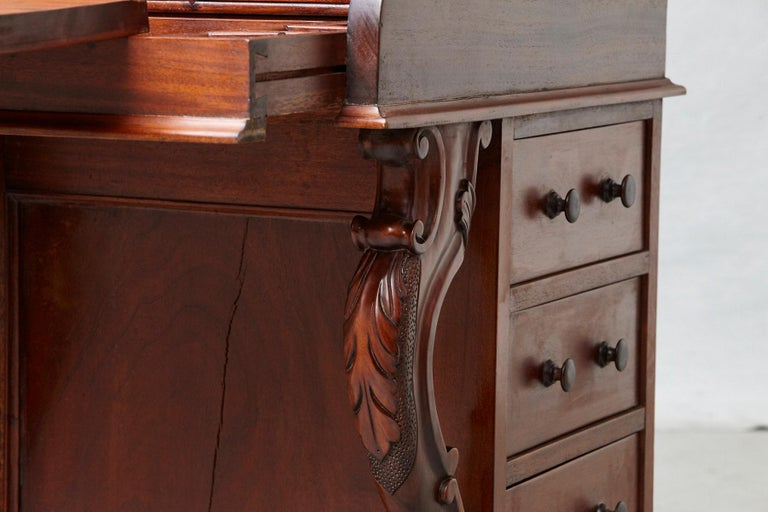 20th Century Walnut Piano Top Davenport Desk For Sale 9