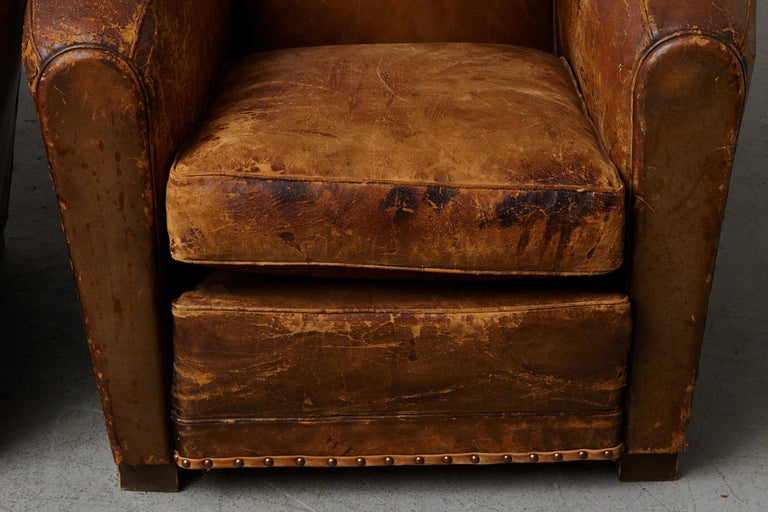 Pair of Large Distressed French Leather Fauteuils or Club Chairs, circa 1930s For Sale 5
