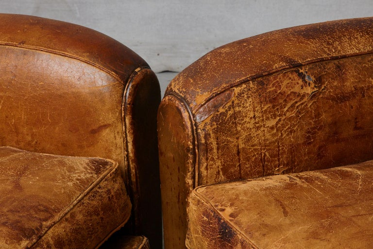 Pair of Large Distressed French Leather Fauteuils or Club Chairs, circa 1930s For Sale 6
