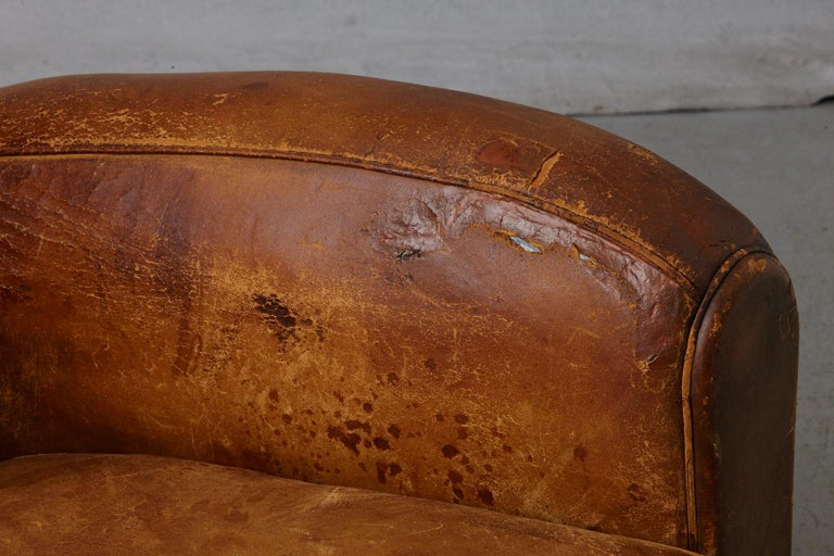 Pair of Large Distressed French Leather Fauteuils or Club Chairs, circa 1930s For Sale 7