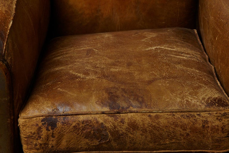 Pair of Large Distressed French Leather Fauteuils or Club Chairs, circa 1930s For Sale 9
