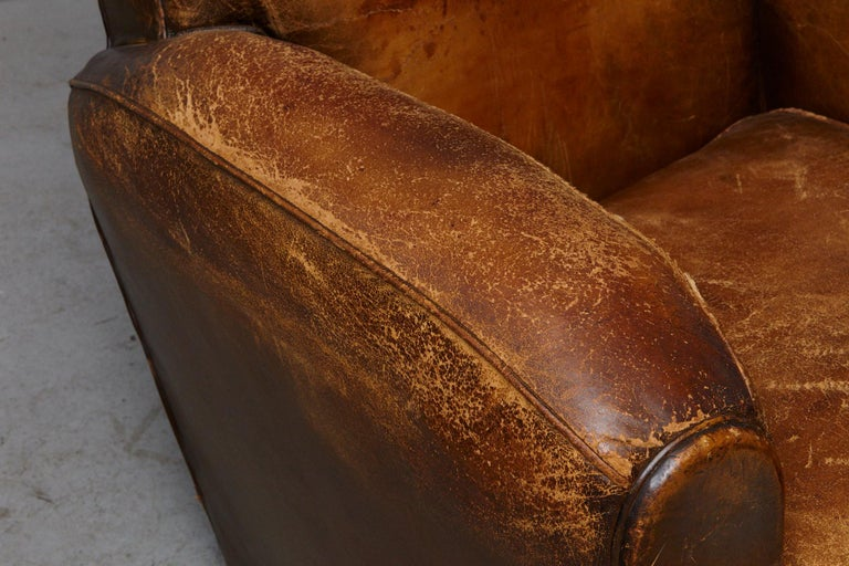 Pair of Large Distressed French Leather Fauteuils or Club Chairs, circa 1930s For Sale 10