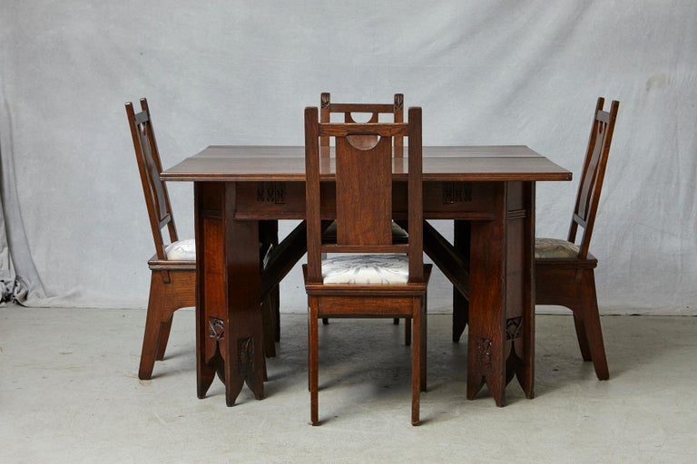 Italian Important Art Nouveau Dining Set by Ernesto Basile for Ducrot, circa 1900 For Sale