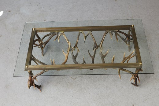 Antler And Brass Coffee Table Attributed To Anthony Redmile Circa - Wheelbarrow coffee table