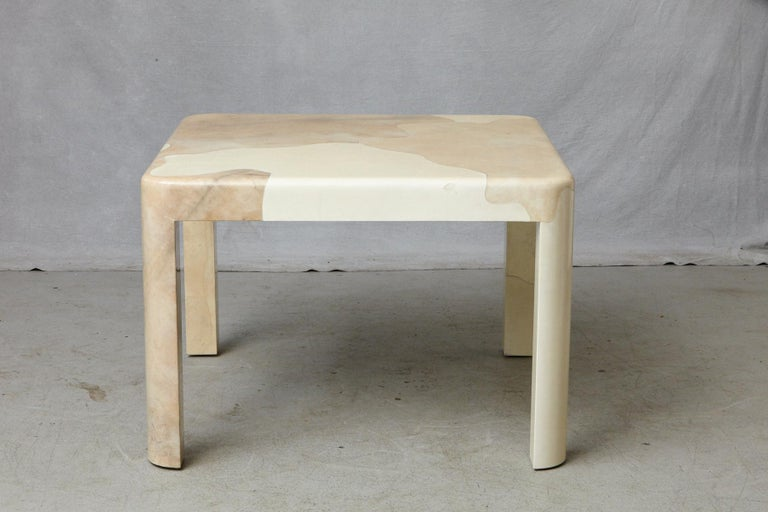 Goatskin Covered Square Dining Table by Karl Springer In Good Condition For Sale In Westport, CT