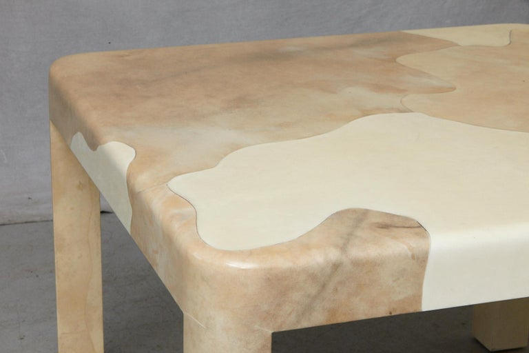 Goatskin Covered Square Dining Table by Karl Springer For Sale 2