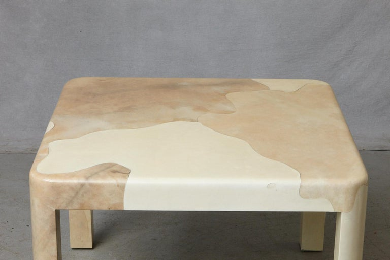 Goatskin Covered Square Dining Table by Karl Springer For Sale 3