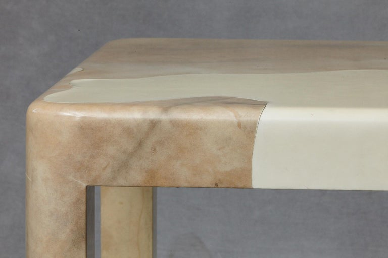 Goatskin Covered Square Dining Table by Karl Springer For Sale 4